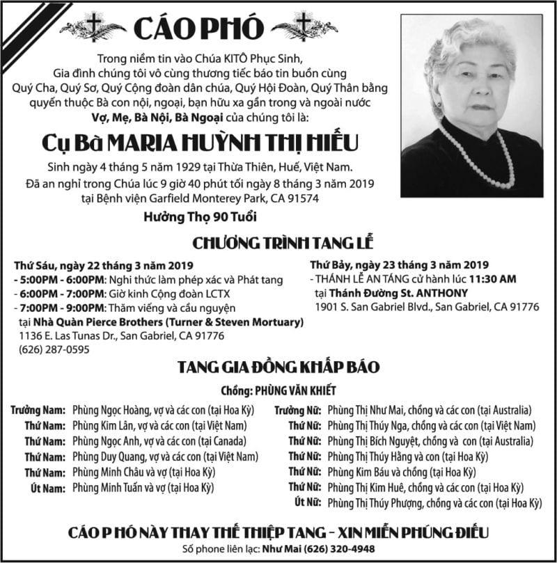 Cụ Bà Maria Huỳnh Thị Hiếu